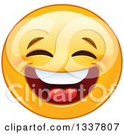 Clipart Of A Cartoon Yellow Smiley Face Emoticon Laughing Royalty Free Vector Illustration