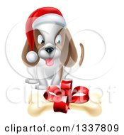 Clipart Of A Christmas Puppy Dog Sitting And Looking At A Gift Bone Royalty Free Vector Illustration
