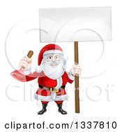 Clipart Of A Happy Christmas Santa Claus Plumber Holding A Plunger And Blank Sign 4 Royalty Free Vector Illustration