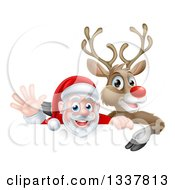 Clipart Of A Cartoon Christmas Red Nosed Reindeer And Waving Santa Over A Sign Royalty Free Vector Illustration