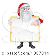 Happy Christmas Santa Claus Holding And Pointing To A Blank Sign Covering His Torso