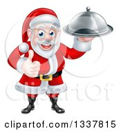 Clipart Of A Happy Christmas Santa Claus Chef Holding A Silver Cloche Platter And Thumb Up Royalty Free Vector Illustration