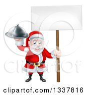 Clipart Of A Happy Santa Claus Holding A Silver Cloche Platter And Blank Sign Royalty Free Vector Illustration