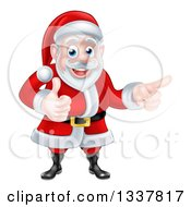Clipart Of A Happy Christmas Santa Claus Giving A Thumb Up And Pointing To The Right Royalty Free Vector Illustration