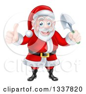 Clipart Of A Cartoon Santa Giving A Thumb Up And Holding A Garden Trowel 2 Royalty Free Vector Illustration
