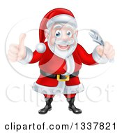 Clipart Of A Happy Christmas Santa Claus Giving A Thumb Up And Holding An Adjustable Wrench Royalty Free Vector Illustration