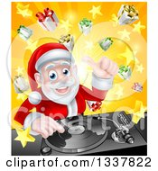 Clipart Of A Happy Santa Claus Dj Mixing Christmas Music On A Turntable Over A Starburst And Gifts Royalty Free Vector Illustration