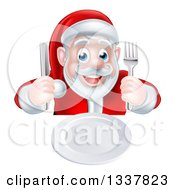 Clipart Of A Happy Hungry Christmas Santa Claus Sitting With A Clean Plate And Holding Silverware Royalty Free Vector Illustration by AtStockIllustration