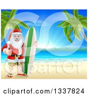 Clipart Of A Christmas Santa Claus Giving A Thumb Up And Standing Between Palm Trees With A Surf Board On A Tropical Beach Royalty Free Vector Illustration