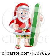 Clipart Of A Christmas Santa Claus Giving A Thumb Up And Standing With A Green And White Surf Board Royalty Free Vector Illustration