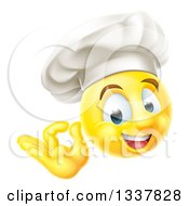 Clipart Of A 3d Yellow Smiley Emoji Emoticon Face Chef Gesturing Ok Royalty Free Vector Illustration