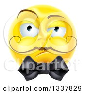 Clipart Of A 3d Snooty Yellow Smiley Emoji Emoticon Face With A Mustache And Bow Royalty Free Vector Illustration