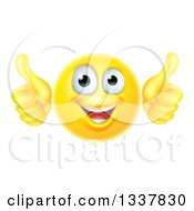 Clipart Of A 3d Happy Yellow Smiley Emoji Emoticon Face Giving Two Thumbs Up Royalty Free Vector Illustration by AtStockIllustration