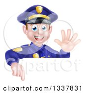 Clipart Of A Cartoon Happy Caucasian Male Police Officer Waving And Pointing Down Over A Sign Royalty Free Vector Illustration by AtStockIllustration