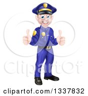 Cartoon Happy Caucasian Male Police Officer Giving Two Thumbs Up
