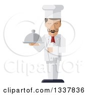 Clipart Of A Stylized Male Chef With A Curling Mustache Standing With A Napkin Draped Over His Arm And A Cloche Platter In Hand Royalty Free Vector Illustration by AtStockIllustration