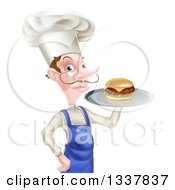 Clipart Of A Snooty White Male Chef With A Curling Mustache Holding A Gourmet Cheeseburger On A Tray Royalty Free Vector Illustration
