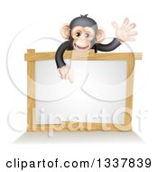 Cartoon Black And Tan Happy Baby Chimpanzee Monkey Waving And Pointing Down Over A Blank White Sign Framed In Wood