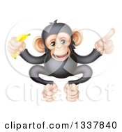 Clipart Of A Cartoon Black And Tan Happy Baby Chimpanzee Monkey Holding A Banana And Pointing Royalty Free Vector Illustration by AtStockIllustration
