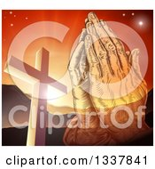 Clipart Of A Engraved Praying Hands Over A Christian Cross Orange Sunset And Mountains Royalty Free Vector Illustration by AtStockIllustration