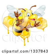 Clipart Of A Cartoon Happy Bee Flying Against Dripping Honeycombs Royalty Free Vector Illustration by AtStockIllustration