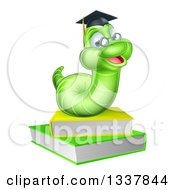 Clipart Of A Happy Green Professor Or Graduate Earthworm On Books Royalty Free Vector Illustration by AtStockIllustration