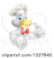 Cartoon Happy White Chef Chicken Giving A Thumb Up