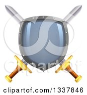 Clipart Of A Shiny Shield Over Crossed Swords Royalty Free Vector Illustration by AtStockIllustration