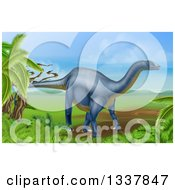 Clipart Of A 3d Grayish Blue Diplodocus Dinosaur In A Landscape Royalty Free Vector Illustration
