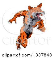 Clipart Of A Tough Muscular Fox Man Sprinting Royalty Free Vector Illustration