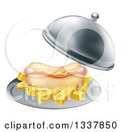 Clipart Of A 3d Hot Dog With A Side Of French Fries Being Served In A Cloche Platter Royalty Free Vector Illustration