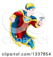 Clipart Of A Happy Young Male Brunette Caucasian Carpenter Worker Super Hero Running With A Hammer Royalty Free Vector Illustration