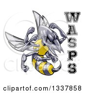 Clipart Of A Tough Wasp Sports Team Mascot Holding Up Fists By Text Royalty Free Vector Illustration by AtStockIllustration