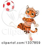 Clipart Of A Cute Athletic Tiger Cub Kicking A Soccer Ball Royalty Free Vector Illustration by Pushkin