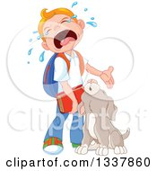 Clipart Of A Cartoon Puppy Dog And Caucasian School Boy Crying When He Has To Go Back To School Royalty Free Vector Illustration by Pushkin