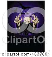 Clipart Of A Creepy Halloween Skeleton Reaching Out Of A Circle With Flying Bats Royalty Free Vector Illustration by Pushkin