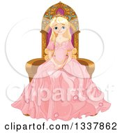 Beautiful Blond Haired Blue Eyed Caucasian Princess In A Pink Dress Sitting On A Throne