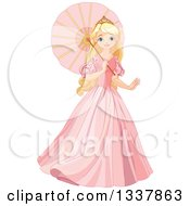 Clipart Of A Beautiful Blond Haired Blue Eyed Caucasian Princess In A Pink Dress Walking With A Parasol Royalty Free Vector Illustration