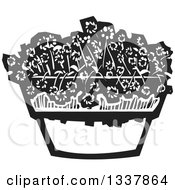 Clipart Of A Black And White Woodcut Pot With Flowers Royalty Free Vector Illustration