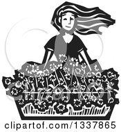 Clipart Of A Black And White Woodcut Girl With Her Hair Flying In The Wind Over A Planter Of Flowers Royalty Free Vector Illustration