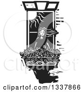 Black And White Woodcut Girl Bending Out Of A Window Her Hair Flying In The Wind Over A Planter Of Flowers