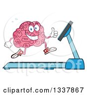 Cartoon Happy Brain Character Running On A Treadmill And Giving A Thumb Up