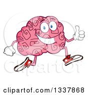 Clipart Of A Cartoon Happy Brain Character Running And Giving A Thumb Up Royalty Free Vector Illustration
