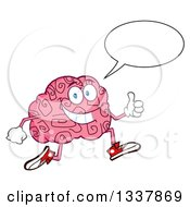 Clipart Of A Cartoon Happy Brain Character Talking Running And Giving A Thumb Up Royalty Free Vector Illustration