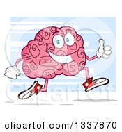 Clipart Of A Cartoon Happy Brain Character Running And Giving A Thumb Up Over Blue Royalty Free Vector Illustration by Hit Toon