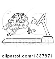 Lineart Clipart Of A Cartoon Black And White Happy Brain Character Running On A Treadmill And Giving A Thumb Up Royalty Free Outline Vector Illustration by Hit Toon