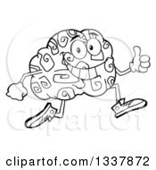Lineart Clipart Of A Cartoon Black And White Happy Brain Character Running And Giving A Thumb Up Royalty Free Outline Vector Illustration by Hit Toon