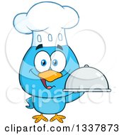 Clipart Of A Cartoon Happy Chef Blue Bird Holding A Cloche Platter Royalty Free Vector Illustration