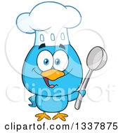 Cartoon Happy Chef Blue Bird Holding A Spoon by Hit Toon