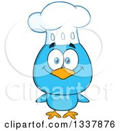 Clipart Of A Cartoon Happy Chef Blue Bird Royalty Free Vector Illustration by Hit Toon